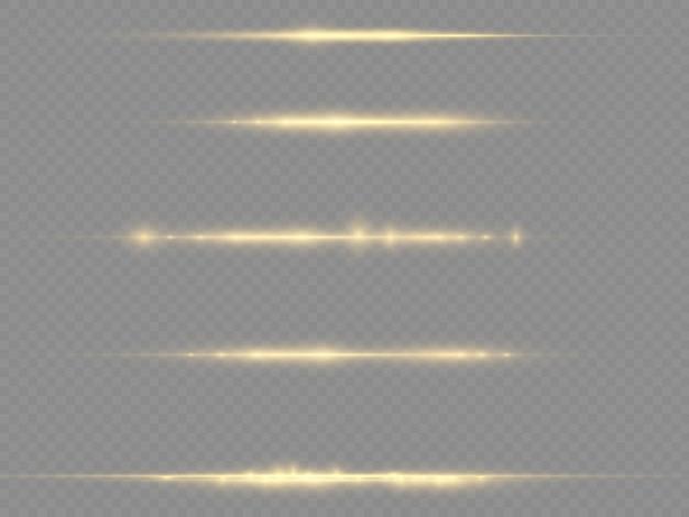 Lichtstrahlen blinken gelbe horizontale linsenfackeln packen laserstrahlen leuchten gelbe linie schöne flare