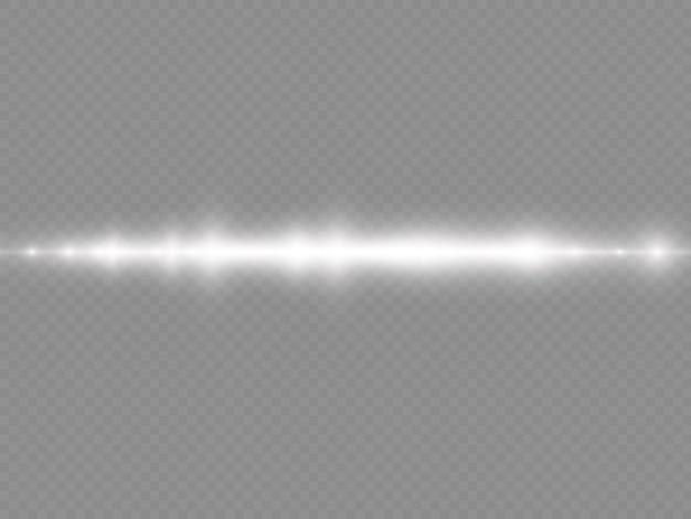 Lichtstrahlen blinken weiße horizontale linsenfackeln packen laserstrahlen leuchten weiße linie schöne flare