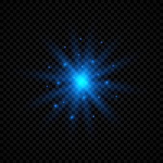 Lichtwirkung von lens flares. blau leuchtende lichter starburst-effekte mit funkeln auf transparentem hintergrund. vektor-illustration