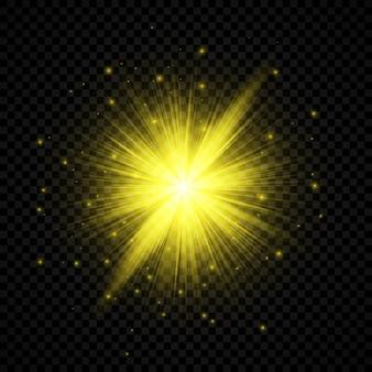 Lichtwirkung von lens flares. gelb leuchtende lichter starburst-effekte mit funkeln auf transparentem hintergrund. vektor-illustration