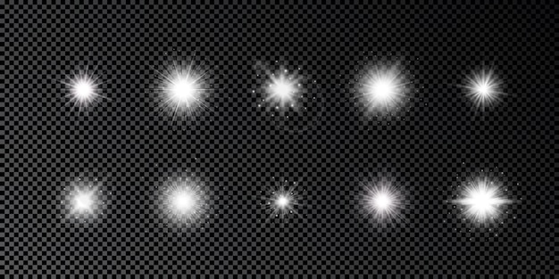 Lichtwirkung von lens flares. set von zehn weißen leuchtenden lichtern, starburst-effekte mit funkeln auf einem dunklen transparenten hintergrund. vektor-illustration