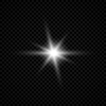 Lichtwirkung von lens flares. weiß leuchtende lichter starburst-effekte mit funkeln auf transparentem hintergrund. vektor-illustration