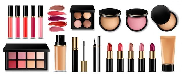 Lidschatten, lipgloss und puder erröten sammlung