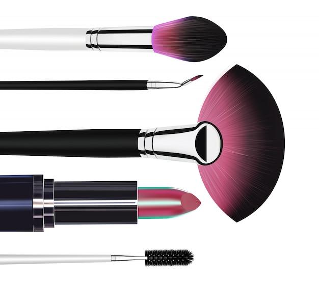 Lidschatten, mascara-pinsel, make-up-pinsel und lipstic