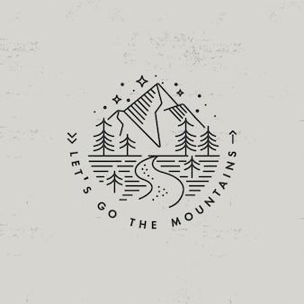 Liear symbol oder logo berge