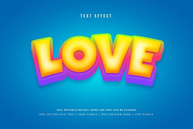 Liebe 3d-texteffekt auf tosca-hintergrund