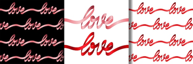 Liebe aus rosa schriftbanddruck und nahtlose musterset