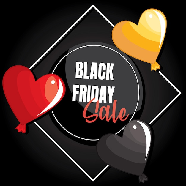 Liebe ballons mit black friday sale banner. platz für text.