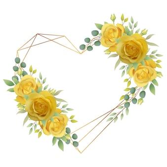 Liebe blumenrahmen hintergrund mit gelben rosen