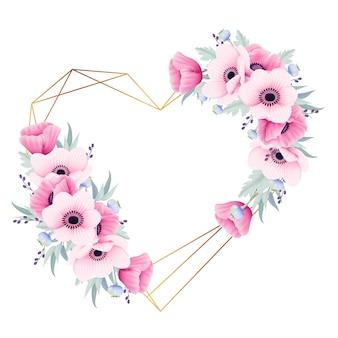 Liebe blumenrahmenhintergrund mit anemonen- und mohnblumenblumen