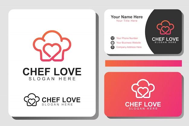 Liebe chef food logo. moderne linie, die lebensmittellogo mit identitätsentwurfsschablone kocht