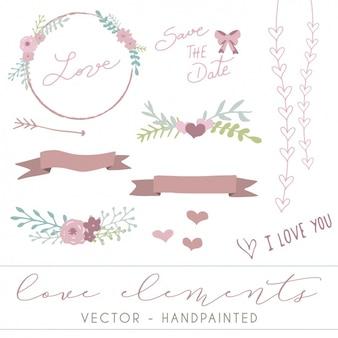 Liebe dekorative elemente