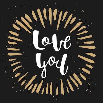 Liebe dich in der hand gezeichneten form, beschriftend.