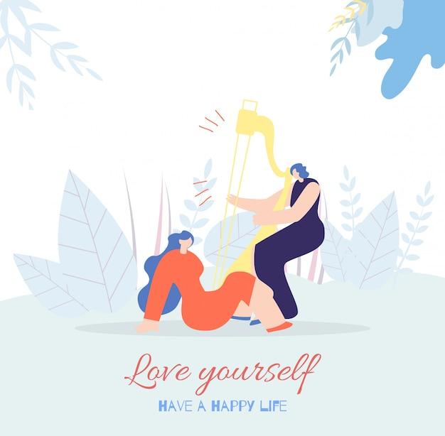 Liebe dich motivationskarte glücklicher lebensstil