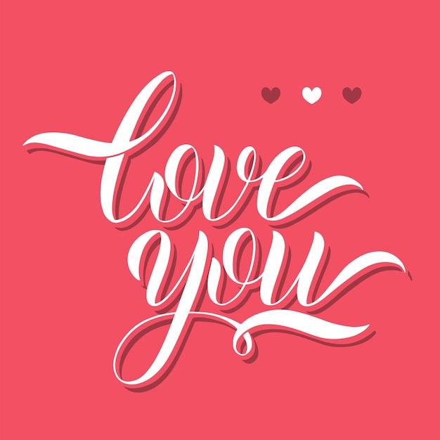 Liebe dich schriftzug. grußkarten-design. handgezeichneter text