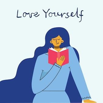 Liebe dich selbst frau hintergrund. vektor-lifestyle-konzeptkarte mit text vergessen sie nicht, sich im flachen stil zu lieben