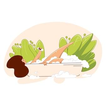 Liebe dich selbst und pass auf dich auf. junge frau, die ein bad nimmt und gesundheits-hautpflegezeitillustration erhält.