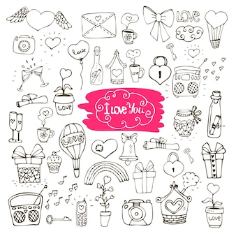 Liebe doodle icons