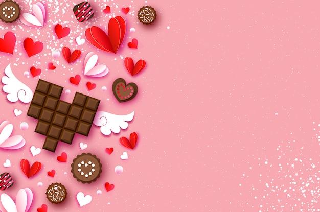 Liebe dunkle schokolade. valentinstag hintergrund. rotes weißes herzpapier schnitt art und nachtisch, süßigkeit.
