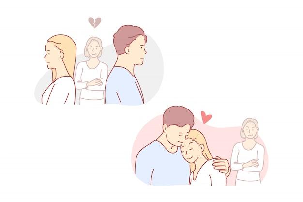 Liebe, eifersüchtig, streit, beziehung, illustration.
