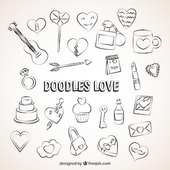 Liebe elemente in doodle-stil