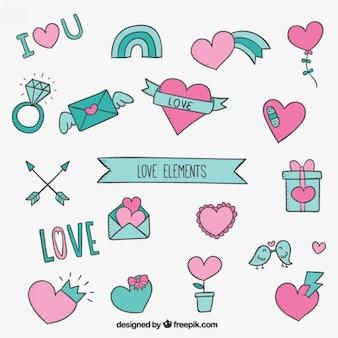Liebe elemente in türkis und rosa farben