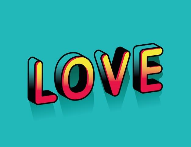 Liebe farbverlauf schriftzug design, typografie retro und comic thema illustration