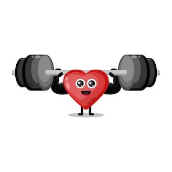 Liebe fitness langhantel niedlichen charakter maskottchen
