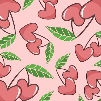 Liebe früchte muster hintergrund vektor illustration