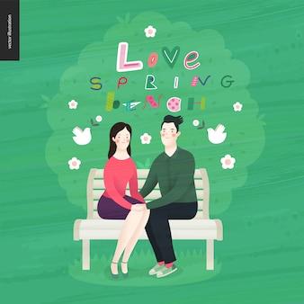 Liebe, frühling, bank-schriftzug und ein verliebtes paar