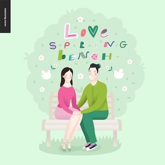 Liebe, frühling, bank schriftzug und ein verliebtes paar