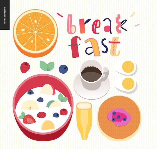 Liebe, frühling, frühstück beschriftung zusammensetzung