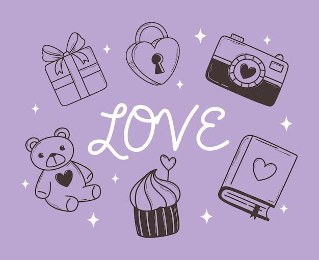 Liebe gekritzelikone stellte geschenkkamera bär cupcake und buch auf lila illustration ein