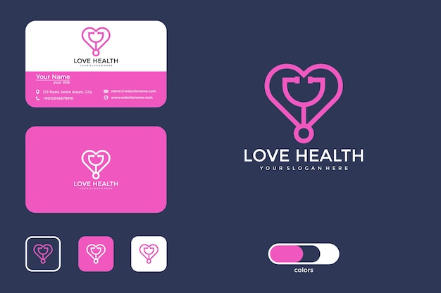 Liebe gesundheit logo-design und visitenkarte