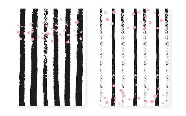 Liebe grenze. rosa gatsby-effekt. streifen-geburtstagskarte. mütter malerei. datum speichern starburst-set. goldenes retro-konzept. weiße streuung tapete. rosa liebesgrenze