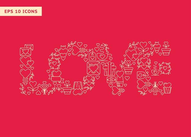 Liebe große buchstaben, die aus elementen auf der roten vektorillustration bestehen