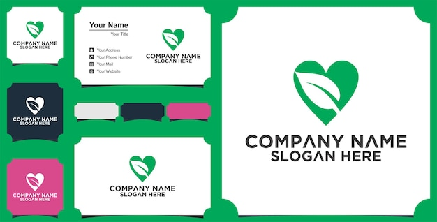 Liebe grünes logo und visitenkarte