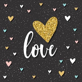 Liebe. handgeschriebene liebesbeschriftung und doodle handgezeichnetes herz für design-t-shirt, hochzeitskarte, brauteinladung, poster, broschüren, sammelalbum, album usw. goldbeschaffenheit.