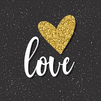 Liebe. handgeschriebener schriftzug und doodle handgezeichnetes herz für design-t-shirt, hochzeitskarte, brauteinladung, poster, broschüren, scrapbook, album etc. gold textur.