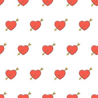 Liebe herz durchbohrt von einem pfeil nahtloses muster. rotes herz thema illustration