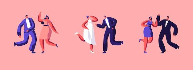 Liebe hochzeitstag und ehe-event-set. bräutigam im anzug tanzen mit braut im weißen kleid. junges glückliches paar, das heiratet. freunde und freundinnen tanzen in der nähe. flache vektorillustration der karikatur