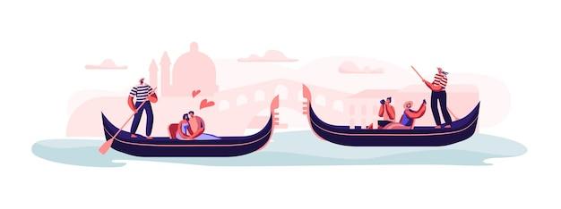 Liebe in venedig. glückliche liebespaare, die in gondeln sitzen, mit gondolieri, die am kanal schwimmen, sich umarmen, ein foto von einer sightseeing-tour oder einer romantischen tour in italien machen. flache vektorillustration der karikatur