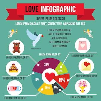 Liebe infografik im flachen stil für jedes design