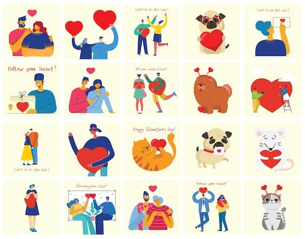 Liebe ist alles was man braucht. hände und menschen mit herzen als liebesmassagen. valentinstag illustrationskarten von glücklichen paaren in der liebe im flachen stil