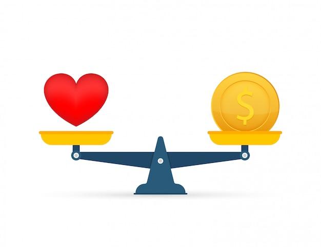 Liebe ist geld auf waage. geld- und liebesbalance im maßstab. illustration