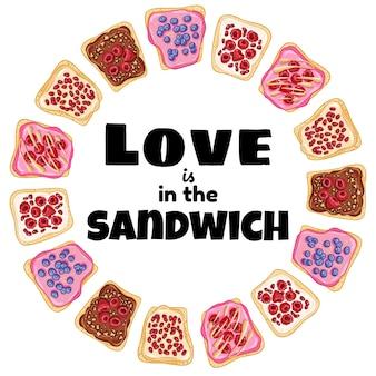 Liebe ist im sandwich-kranz. toastbrotsandwich mit gesundem plakat der beeren frühstück oder mittagessen veganes essen. abbildung des vegetarischen essens auf lager
