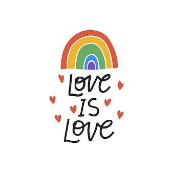 Liebe ist liebe hand gezeichnete schriftzug phrase mit regenbogen. stolz tag. lgbt-community