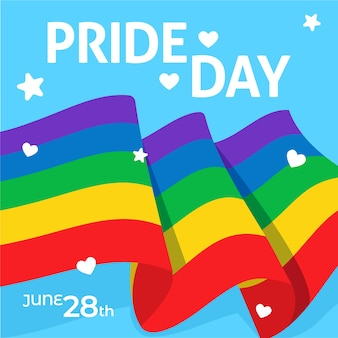 Liebe ist liebe stolz tag flagge und herz mit sternen