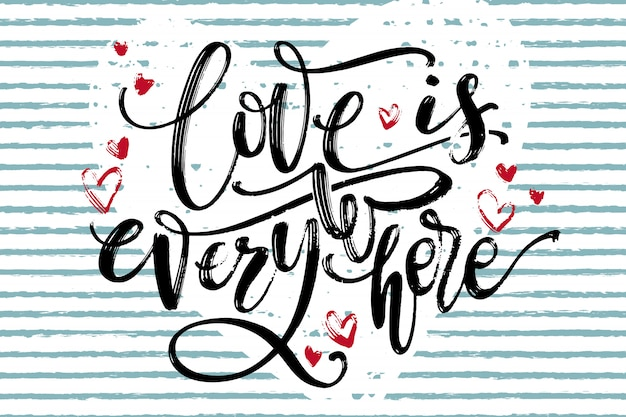 Liebe ist überall horizontale karte.