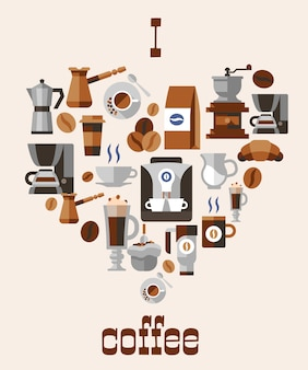 Liebe kaffeekonzept
